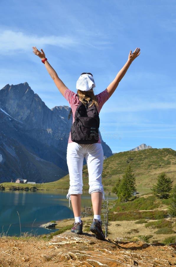 Download Girl Enjoying Alpine Panorama Stock Photo - Image: 34780350