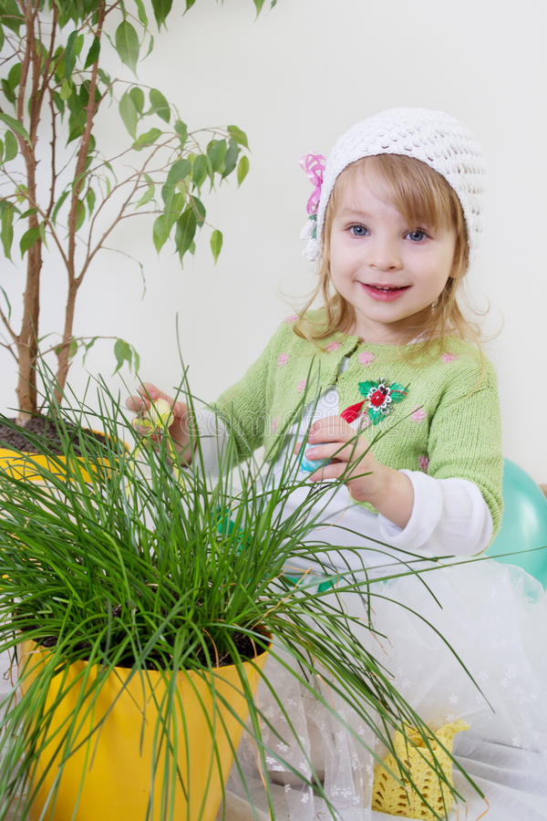 Girl Enjoying Green Plants At Spring Stock Images
