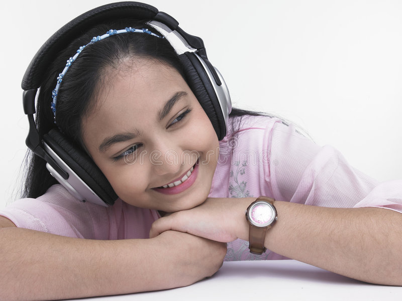Girl enjoying listening to music