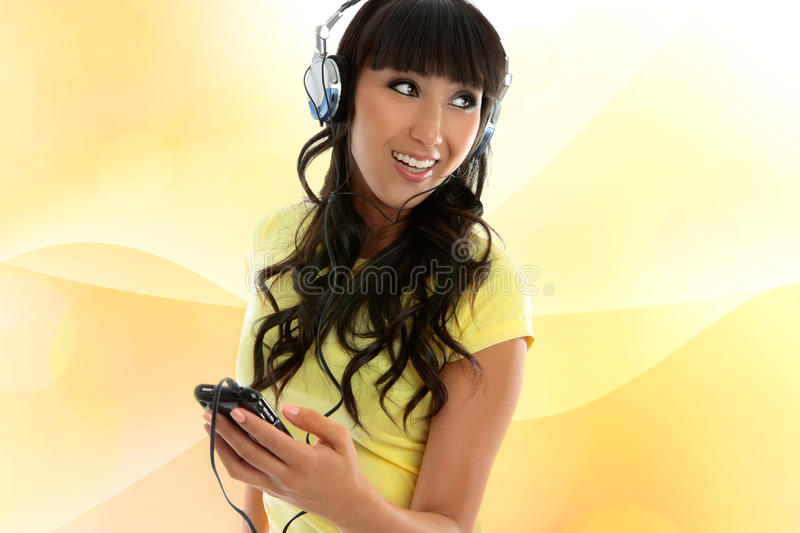 Girl enjoying music stock photo