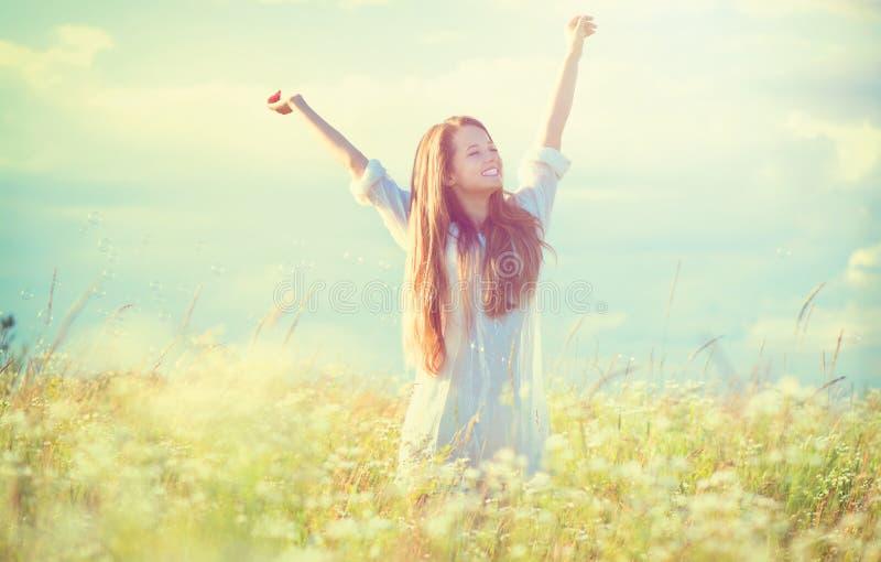Girl enjoying nature stock image