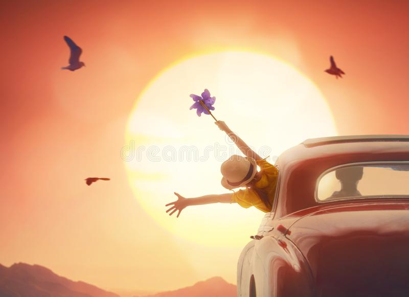 Girl enjoying road trip royalty free stock images