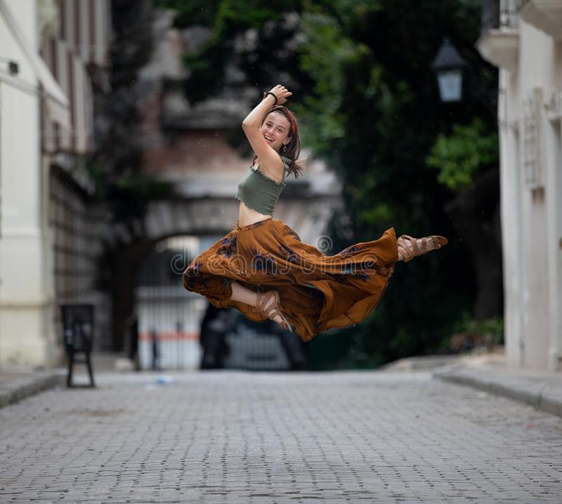 Girl enjoying vacation in Havana, Cuba stock photography