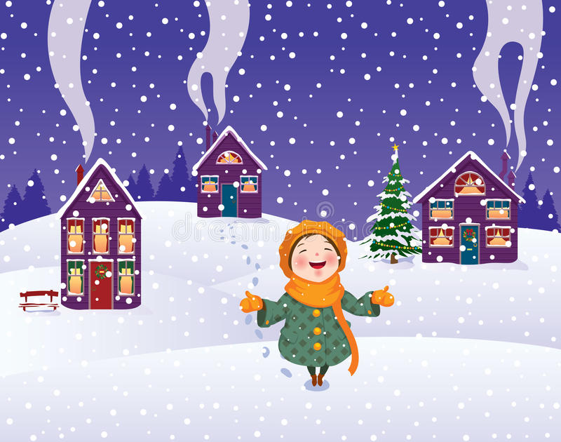 Download Girl enjoys the snow stock vector. Image of happiness - 21837379