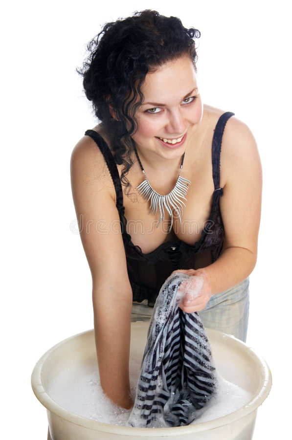Download The girl erases linen stock image. Image of make, foam - 5701927