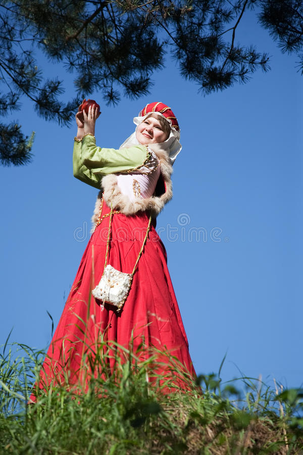 Girl in european historical clothing stock image