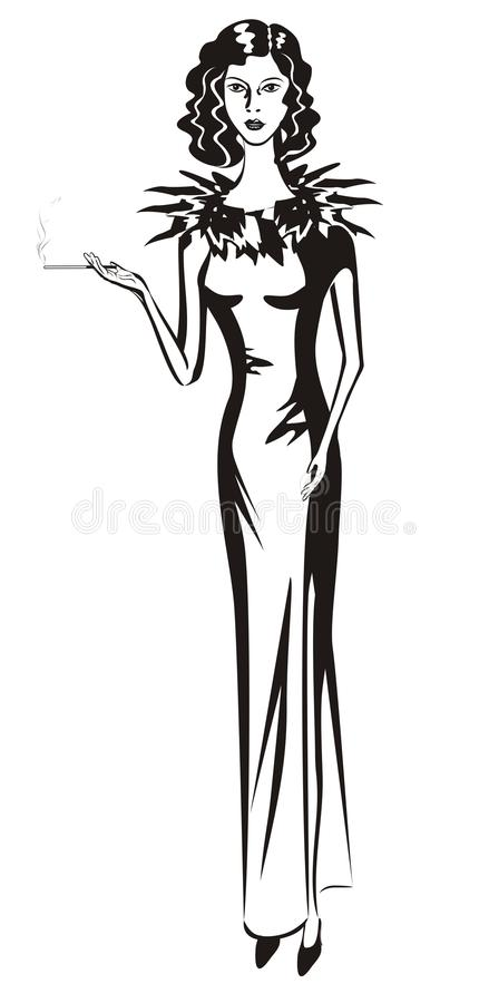 Girl in evening dress royalty free stock photography