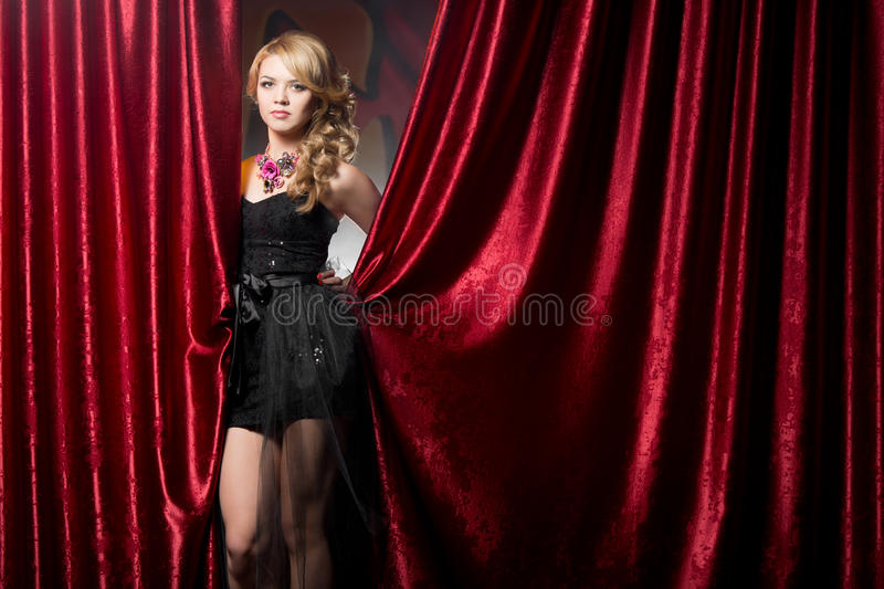 Girl in evening dress at the party royalty free stock photo