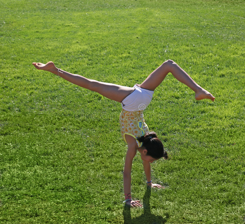 Download Girl exercising stock image. Image of green, balancing - 3611207
