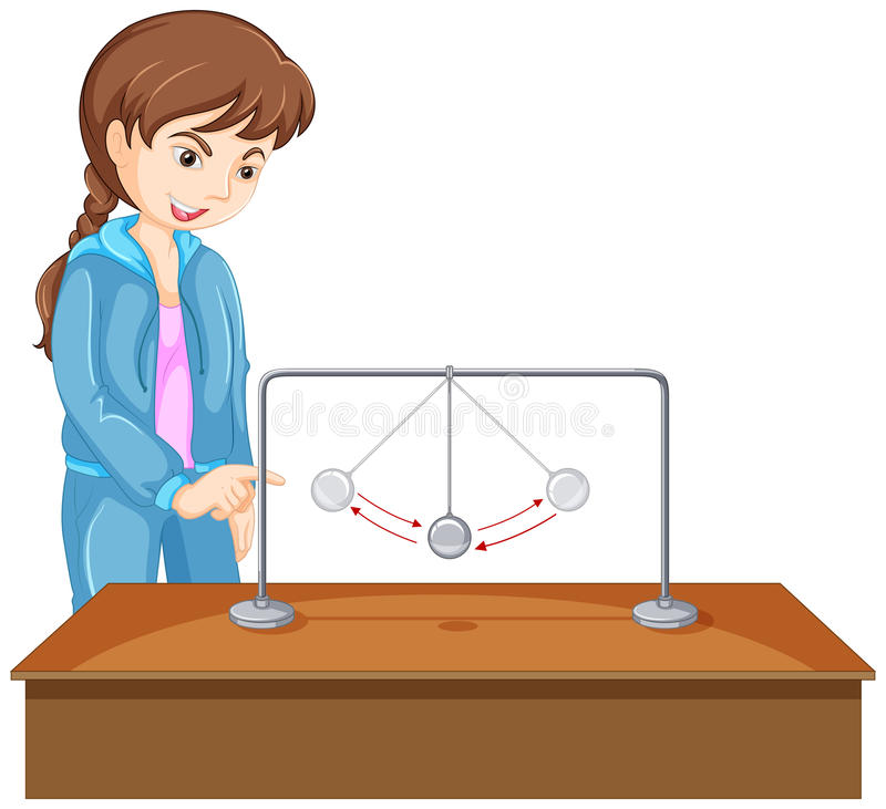 Girl experiment with gravity ball. Illustration royalty free illustration
