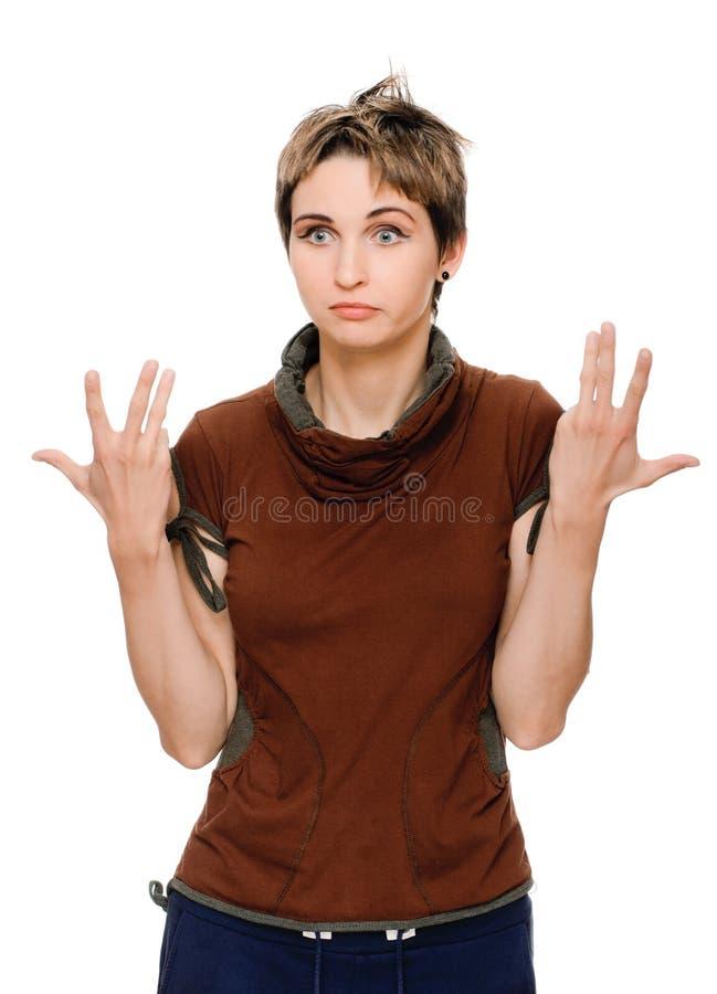 Girl explaining emotional stock photography