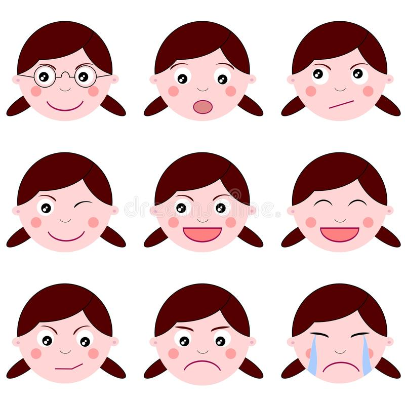 Set Girl Expressions Emotion Isolated Royalty Free Stock Photography