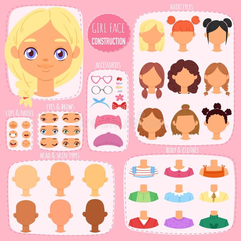 Girl face constructor vector kids character avatar and girlish creation head lips or eyes illustration girlie set of. Facial elements construction with children stock illustration