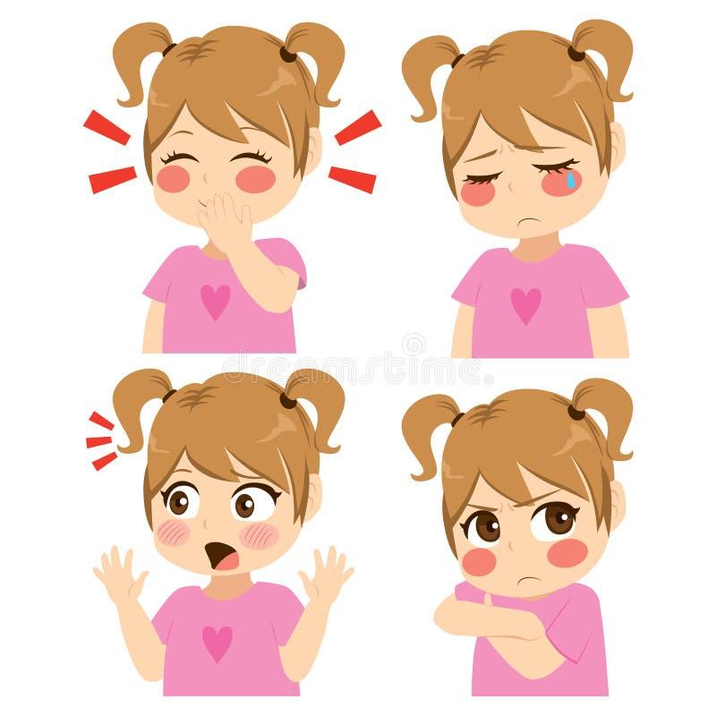 Girl Face Expression vector illustration