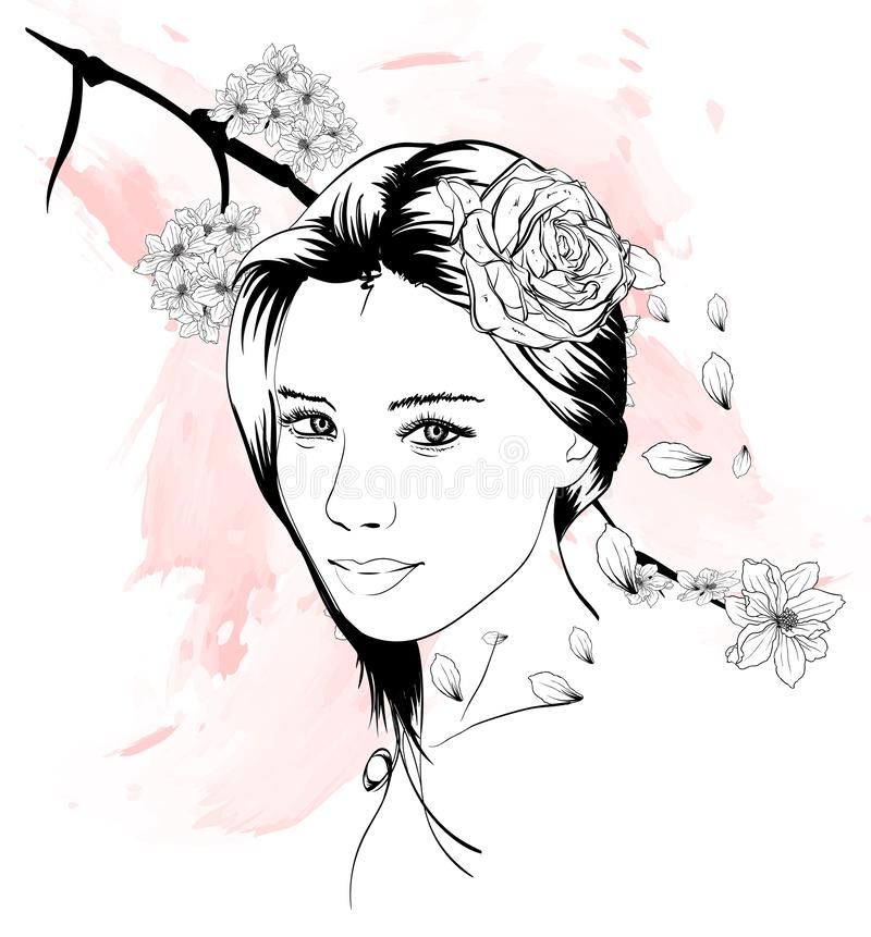 Girl face hand drawn fashion illustration. Female face. Beautiful woman with flowers in her hair stock illustration