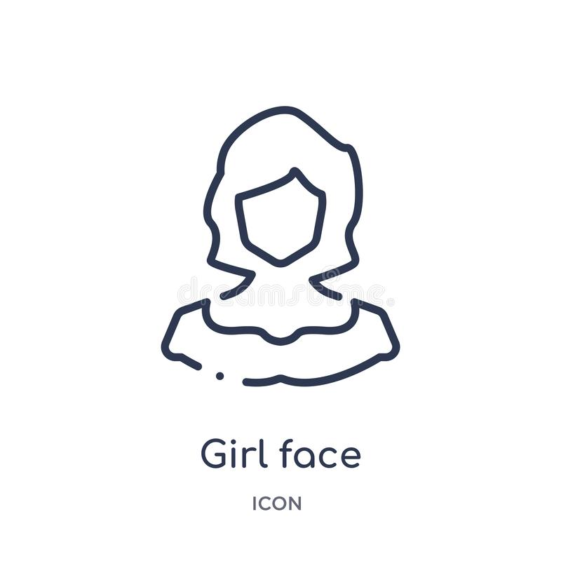 Girl face icon from people outline collection. Thin line girl face icon isolated on white background stock illustration