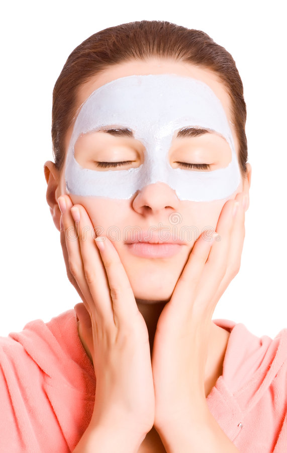 Girl with face mask stock photos
