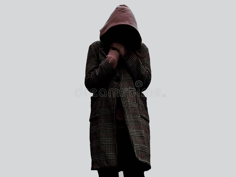 Girl without face person noface girl in the  hood royalty free stock photos