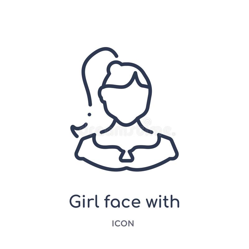 Girl face with ponytails icon from people outline collection. Thin line girl face with ponytails icon isolated on white background vector illustration