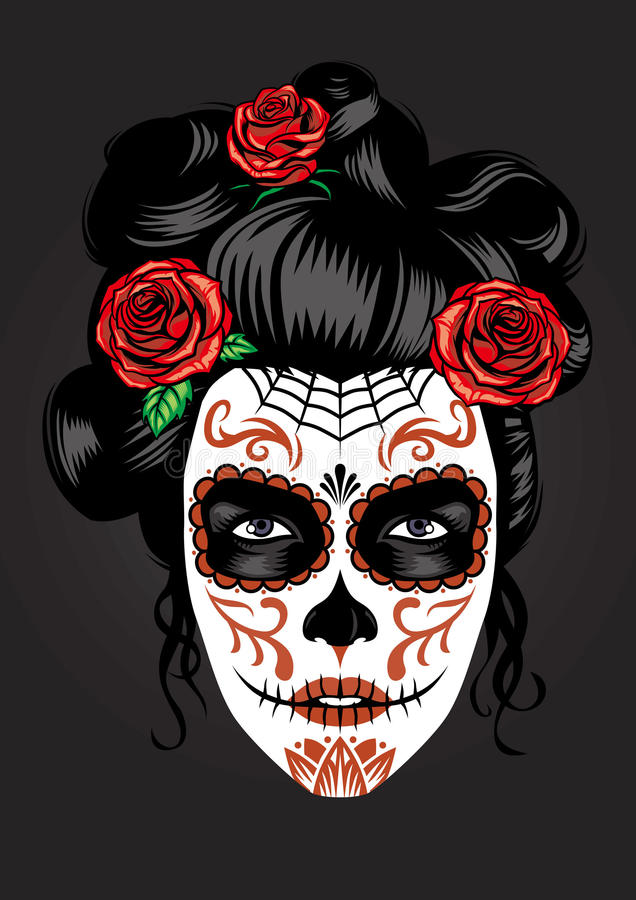 Girl face in sugar skull make up royalty free illustration