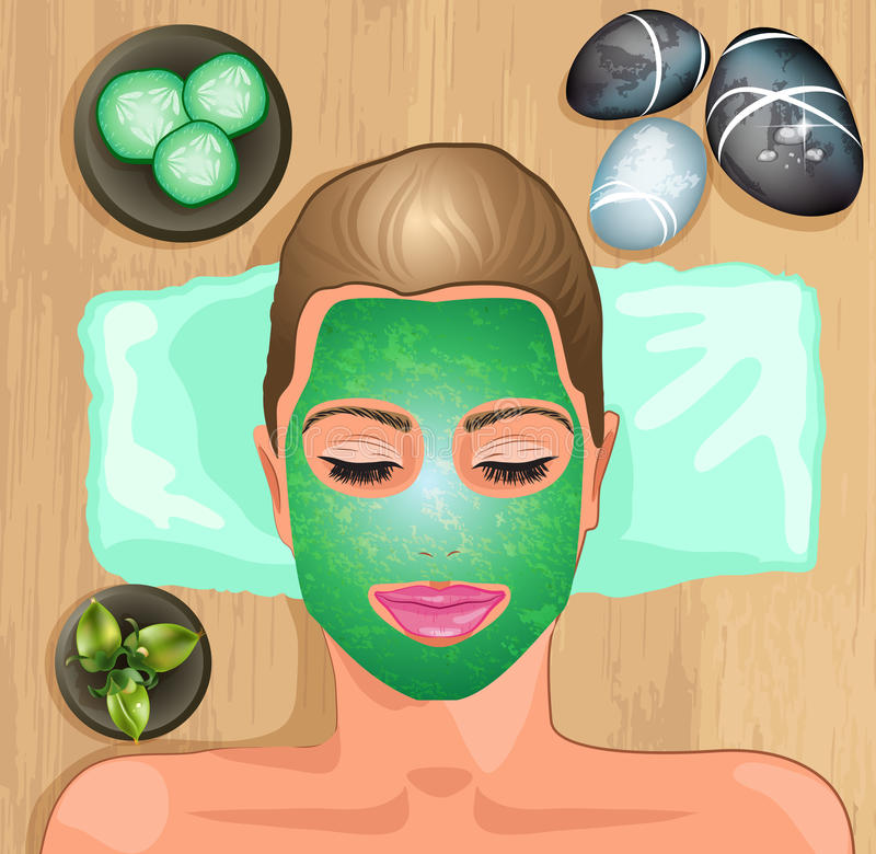Girl with facial hydrating mask vector illustration