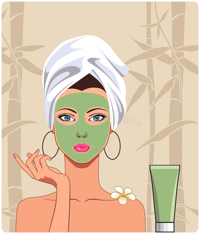 Girl with facial mask stock illustration