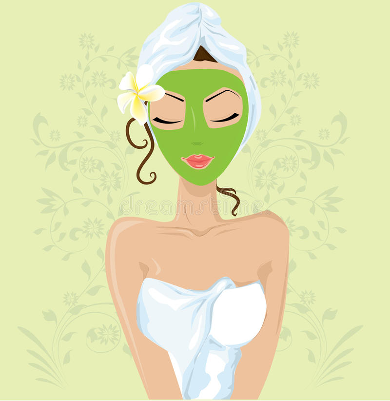Girl with facial mask royalty free illustration