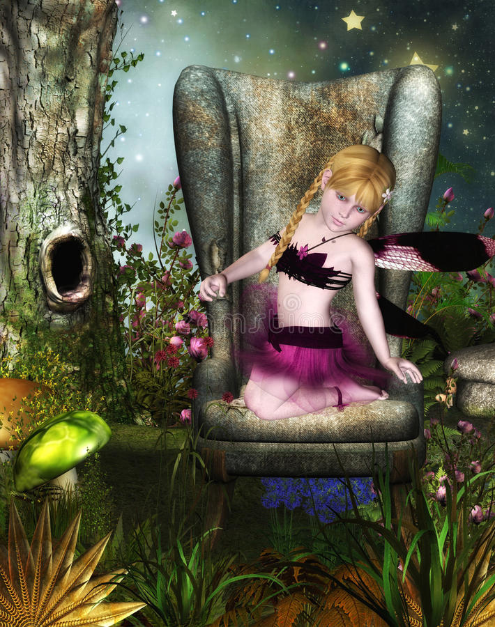 Girl fairy on chair. A 3D rendered image of a girl fairy on a chair in a fantasy garden stock illustration