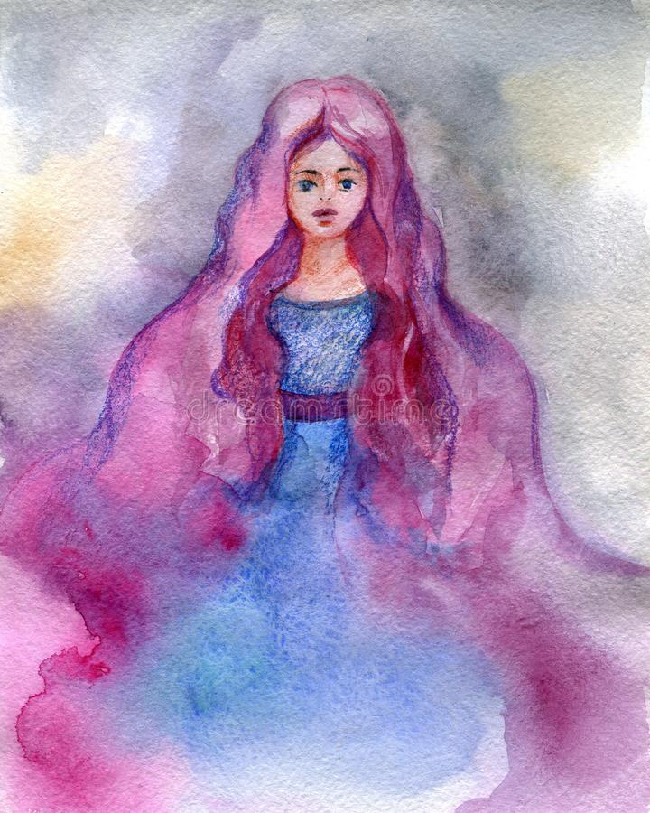 The girl-fairy with pink hair in a blue dress. Watercolor illust stock illustration