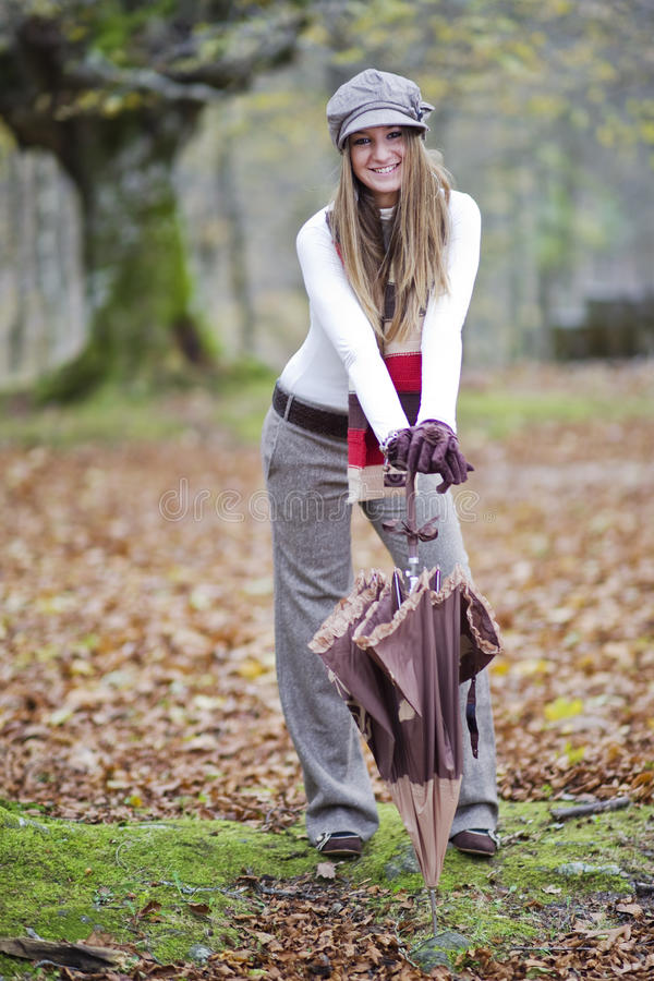 Download Girl fall forest stock photo. Image of leav, blond, nature - 11852320