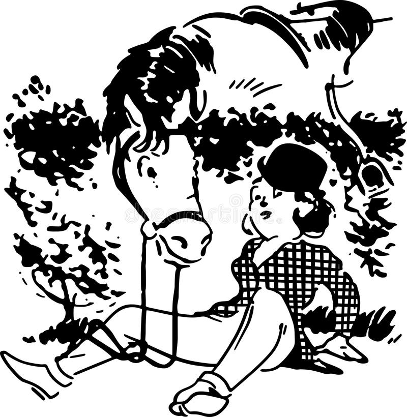 Girl Fallen From Horse. Horse looking over a hedge at fallen girl rider vector illustration