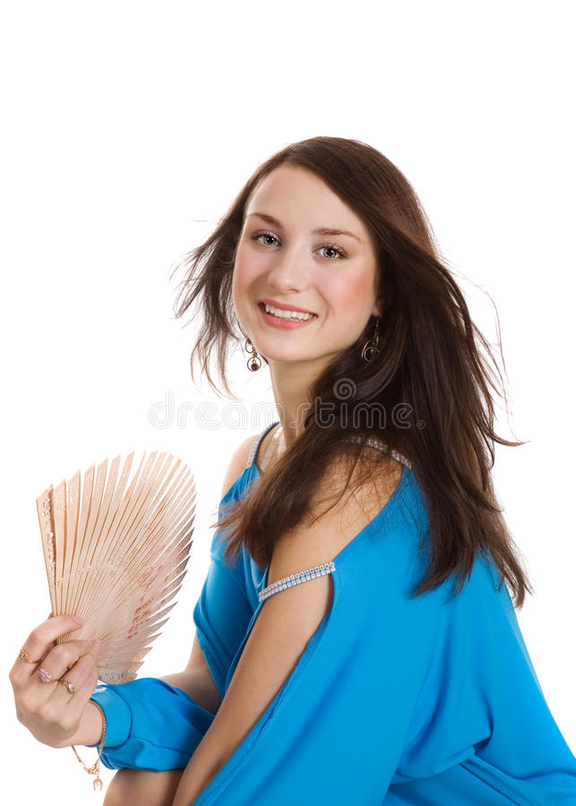 Download Girl with fan stock photo. Image of wind, white, look - 12261220