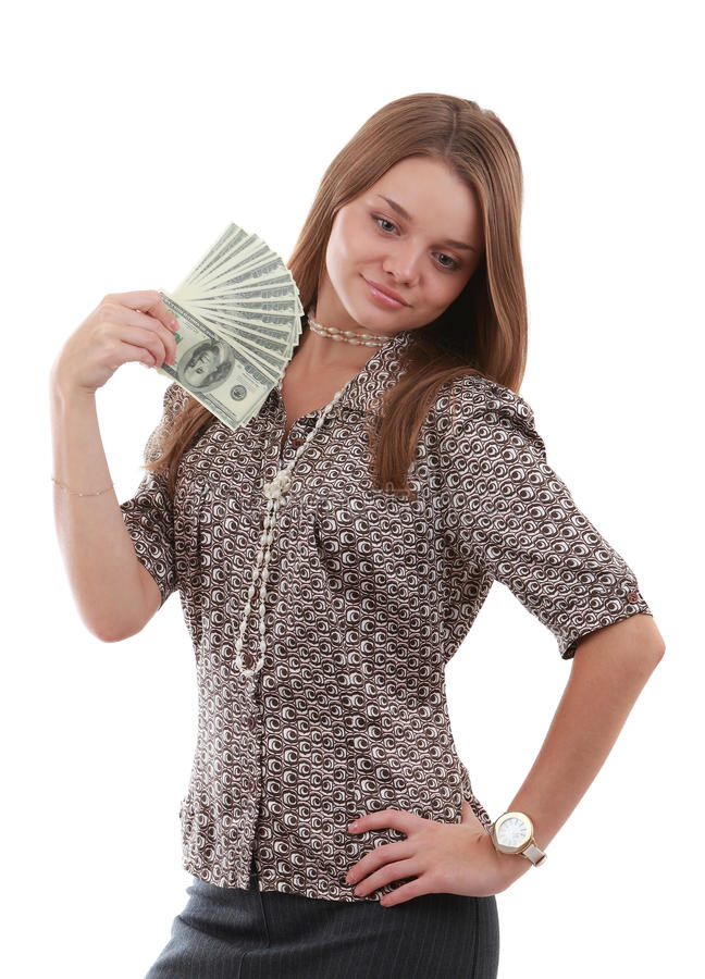 Download Girl with fan of dollar stock photo. Image of cute, people - 11325418