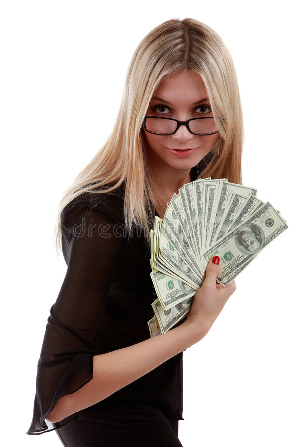 Download Girl With A Fan Of Dollar Bills Stock Image - Image: 14317553