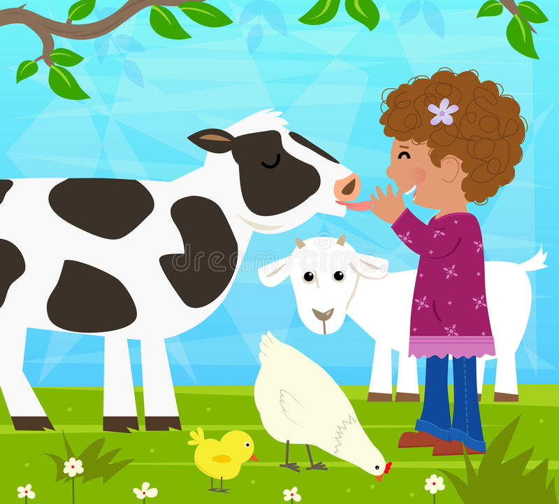 Girl With Farm Animals stock illustration