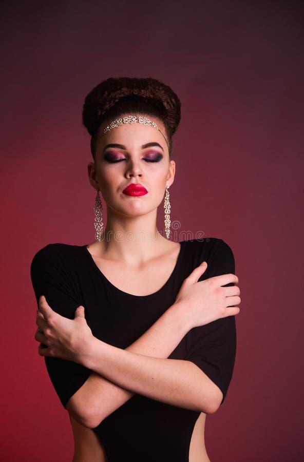 Girl fashion shoot in the studio stock image