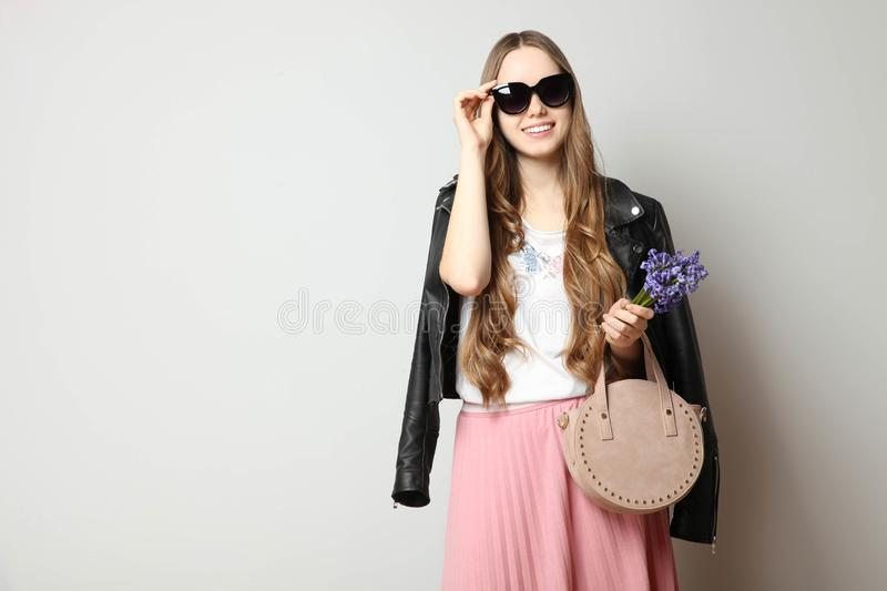 Girl in fashionable spring clothes royalty free stock image