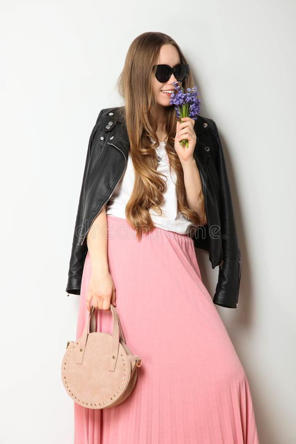 Girl in fashionable spring clothes stock photo