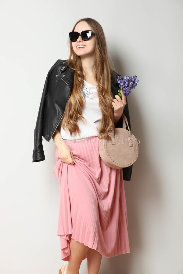 Girl in fashionable spring clothes royalty free stock images