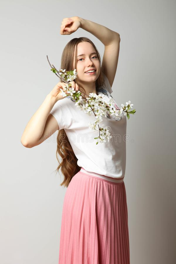 Girl in fashionable stylish spring clothes stock image