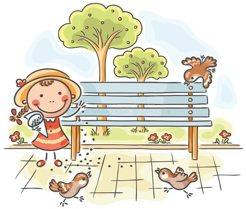 Girl feeding sparrows in the park royalty free illustration