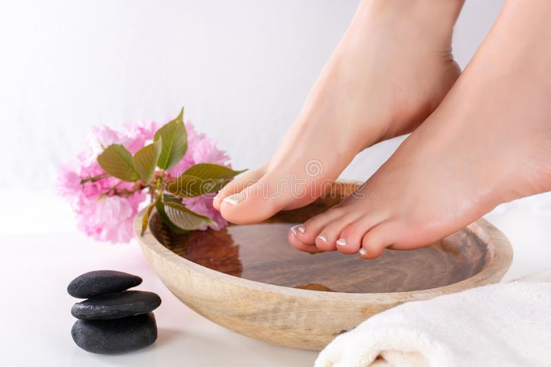 Girl feet with french pedicure in wooden bowl with water and decorative pink flower in beauty and spa studio. Feet fetish. Beautiful young gently woman feet with royalty free stock photos