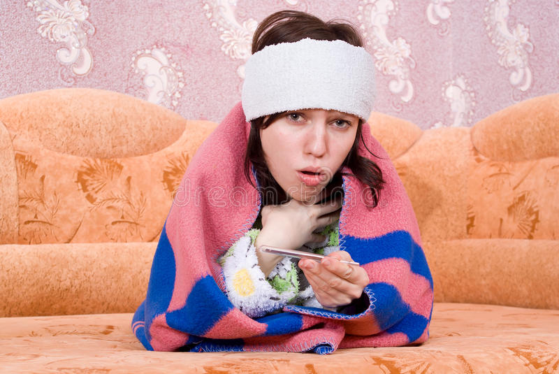 Download Girl Fell Ill And On The Couch Stock Photo - Image: 24538500