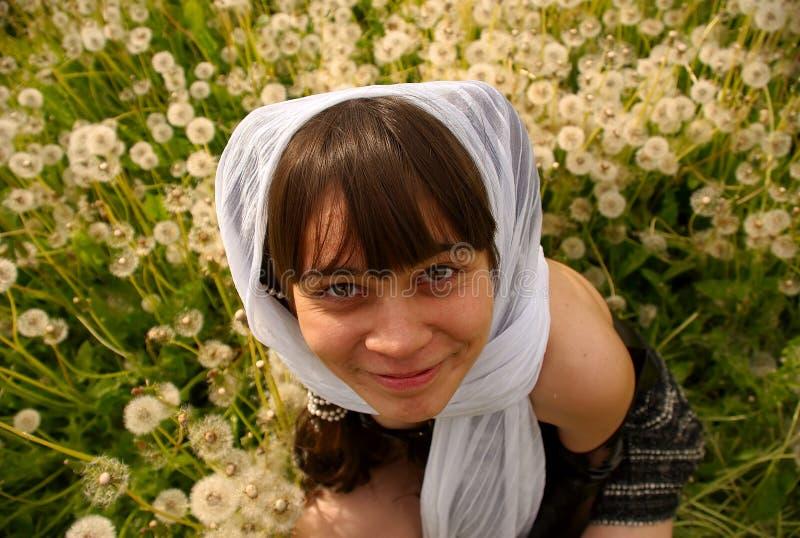A girl felt a tickle of dandelions stock photo