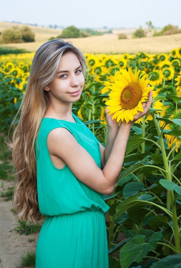 Girl on the field of sunflowers. Beautiful girl on the field of sunflowers stock images