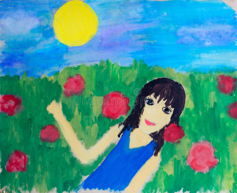 Girl in field, watercolor illustration royalty free stock photos