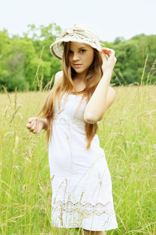 Download Girl on the field stock image. Image of cute, meadow - 34922261