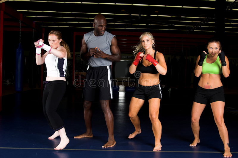 Girl Fighters Training stock image