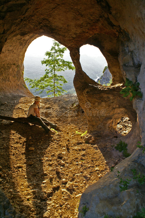 Download The girl in Figured cave stock image. Image of cave, tremendous - 11211507