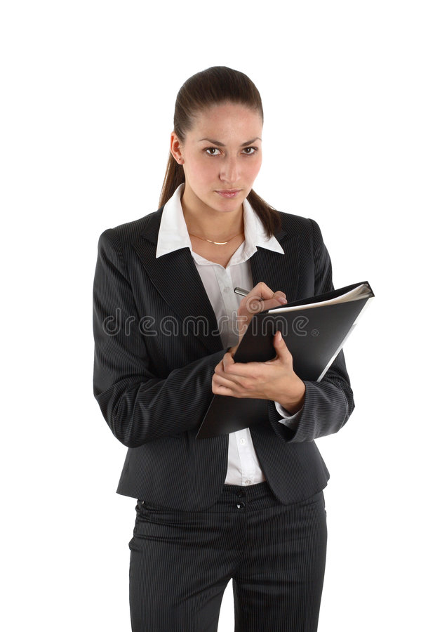Girl with file 2 stock images